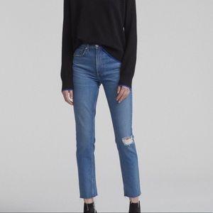 Rag & Bone Distressed Skinny High Rise Ankle Jeans